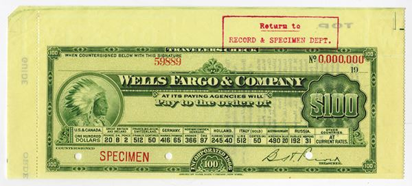 Image 1 Wells Fargo Co Ca 1910s Specimen Travelers Check