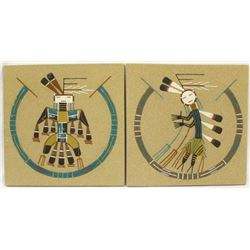 2 Native American Navajo Sand Paintings by Chee