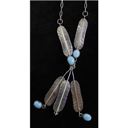 Beautiful Navajo Sterling Turquoise Necklace