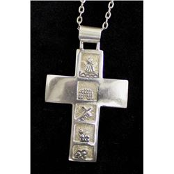 Navajo Sterling Silver Cross Pendant Necklace