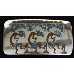 Navajo German Silver & Chip Inlay Belt Buckle