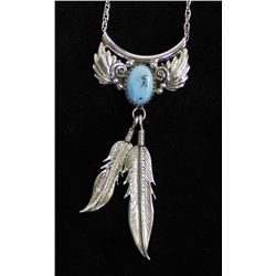 Traditional Navajo Sterling Turquoise Necklace