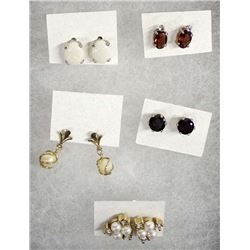 5 Pairs of Semi-Precious Stone & Pearl Earrings