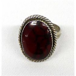 Native American Navajo Sterling & Jasper Ring, 10