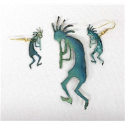 Copper Kokopelli Pin and Earrings