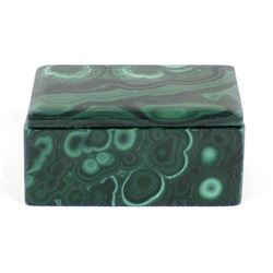 Beautiful Carved Malachite Lidded Trinket Box