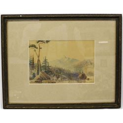 Antique Watercolor Landscape Painting by Frank Cox