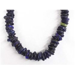 African Cobalt Blue and Black Ring Bead Necklace