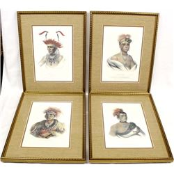 4 Framed Native American Chief Prints