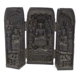 Vintage Chinese Carved Wooden Triptych Shrine