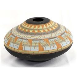 Navajo Etched Pottery Jar by M Y Hauer