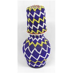 Sioux Beaded Glass Water Jug & Cup