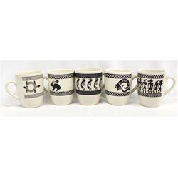 5 Anasazi Traders Mimbres Designed Ceramic Cups