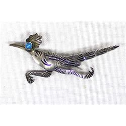 Native American Navajo Sterling Roadrunner Pin