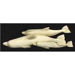 Northwest Coast Carved Bone Pod of Dolphins