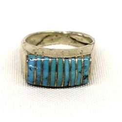 Native American Zuni Sterling Turquoise Ring, 9.5