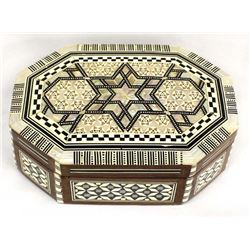Egyptian Inlay Mother of Pearl Lidded Box