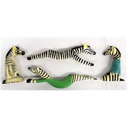 4 Wooden Folk Art Zebras