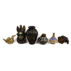 6 Wood and Pottery Collectibles