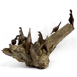 Ironwood Sculpture with Quail