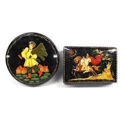 2 Lacquerware Trinket Boxes, made in Budapest
