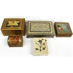 Collection of 5 Ethnic Lidded Boxes