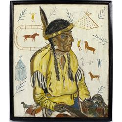 1951 Original Painting of Native American by C. Ab