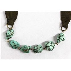 Ribbon Necklace with Green Turquoise Nuggets