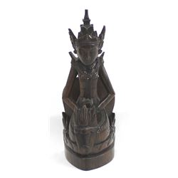 Asian Carved Rosewood Buddha Statue
