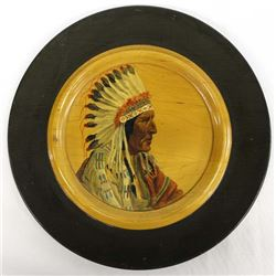Vintage Hand Painted Wood Plate by Alma Dixon