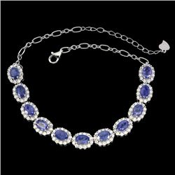 Natural Oval 6x4mm Blue Violet Tanzanite Bracelet