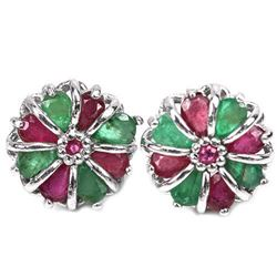 Natural EMERALD & RUBY FLOWER EARRING