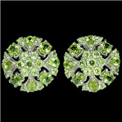 NATURAL APPLE GREEN PERIDOT FLOWER EARRING