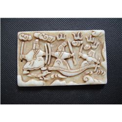 Old China White jade hand-carved Old Warriors