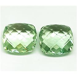 Natural Cushion Double Checker Green Amethyst Pair - FL