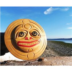 West Coast Native Hand Carved Moon Mask 12 Inch