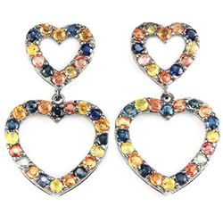 Natural MULTI COLOR SAPPHIRE Double Heart Earrings