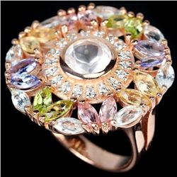 Ntural ROSE QUARTZ TOPAZ TANZANITE & TOURMALINE Ring
