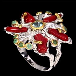 Natural Handmade Red Coral Zircon Emerald Ring