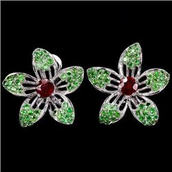 Natural BLOOD RED RUBY TSAVORITE GARNET Earrings