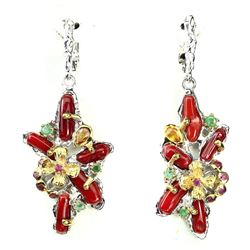 Natural Rich Red Coral Emerald Ruby Sapphire Earrings