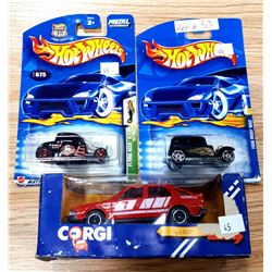 2 HOT WHEELS AND 1 CORGI IN PACKAGES