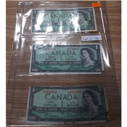 3 CANADIAN 1954 $1 BILLS