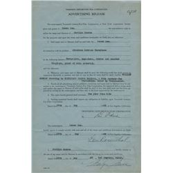 Marilyn Monroe contract signed by the actress for the film Gentlemen Prefer Blondes.
