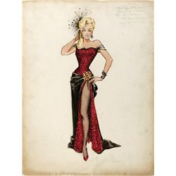 """Marilyn Monroe """"Kay Weston"""" costume sketch by Travilla for River of No Return."""