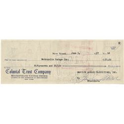 Marilyn Monroe signed check as president of Marilyn Monroe Productions.
