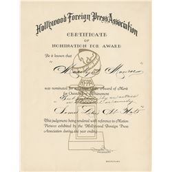 Marilyn Monroe personal Certificate of Nomination from the Golden Globe Awards for Some Like it Hot.