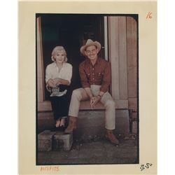 Marilyn Monroe color on-set candid photograph with Clark Gable from The Misfits.