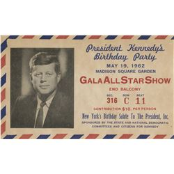 Marilyn Monroe performance ticket and program for President John F. Kennedy's 45th birthday party.