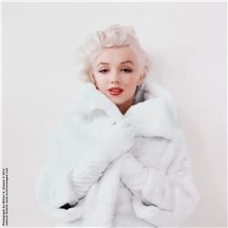 "Marilyn Monroe ""White Fur Sitting 1"" mammoth exhibition print by Milton H. Greene."
